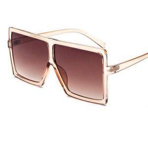 frame vintage sunglasses square big brown